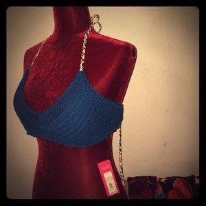 BNWT! Crochet Bralette, Halter-Tie Bikini Top